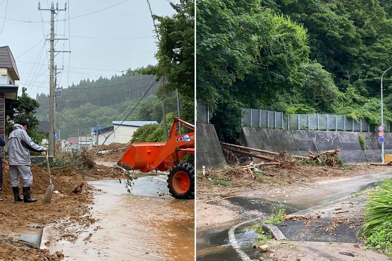 左:道路を塞ぐ土砂 右:土砂崩れにより道路に出てきた倒木