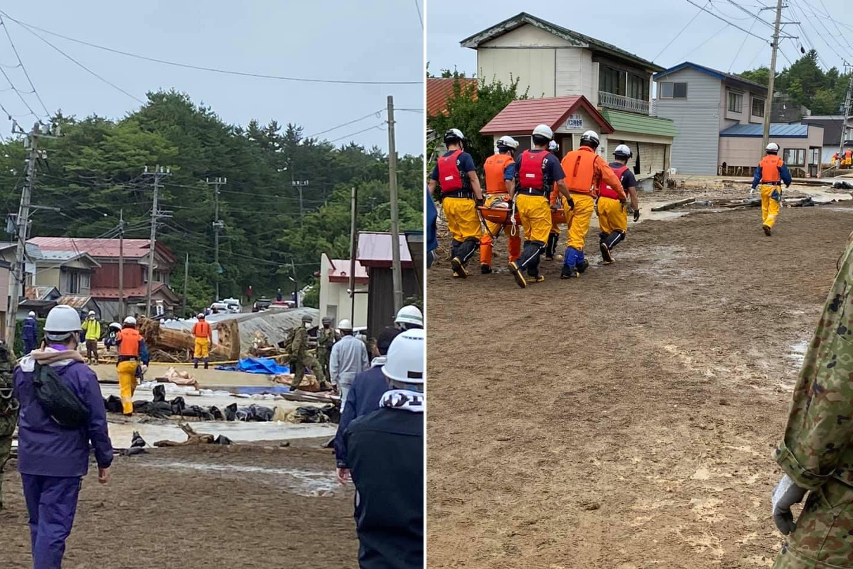 道路の土砂や倒木を撤去する消防・自衛隊