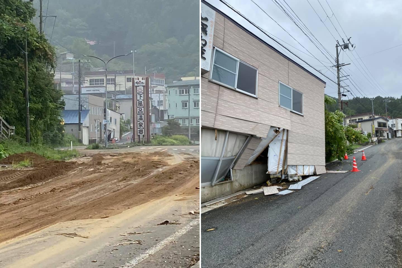 左:土砂が流れ込んだ下風呂温泉郷入口 右:土砂・大雨により欠損した建物